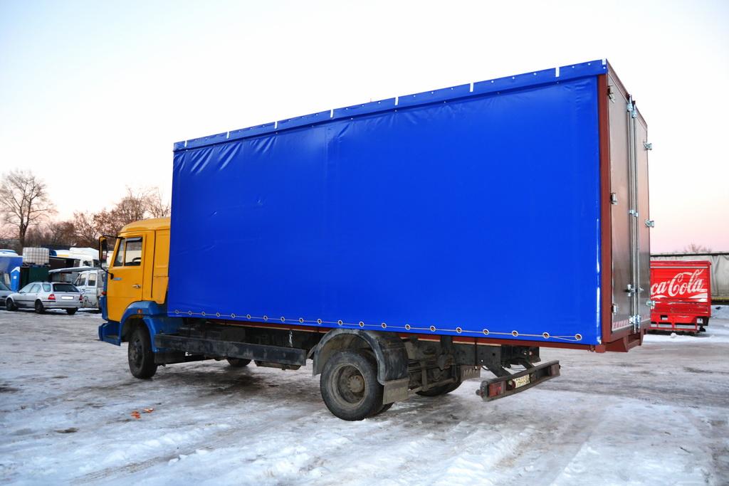 Синяя ткань-ПВХ, 650 гр./м2, для изготовления сдвижных штор на Камаз
