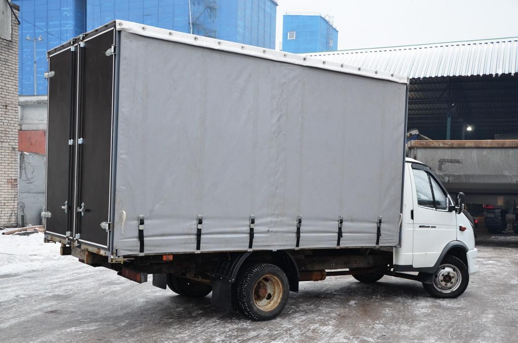 Ткань-ПВХ серая, 630 гр./м2, для тента со сдвижной шторой для грузовика ГАЗ 330202